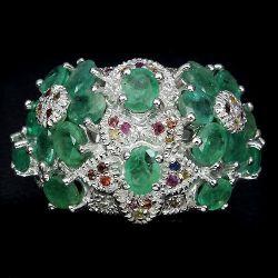 Anel de Ouro Branco 14 k Plated com Esmeraldas e Safiras Coloridas