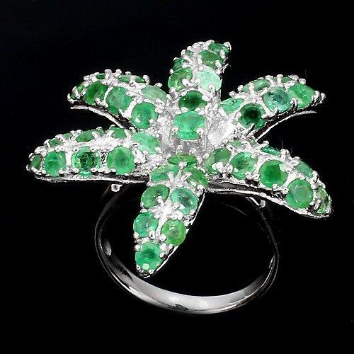 anel de prata com esmeralda verdadeira