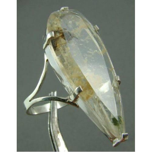 Anel Feminino em Prata 950 com Gota de Cristal Rutilado