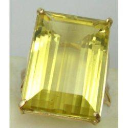 anel de ouro 18k com quartzo amarelo natural retangular