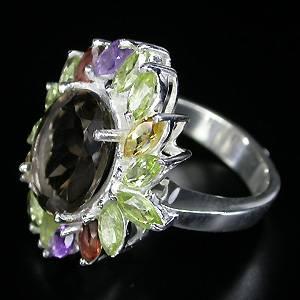 Anel Floral de Prata com Multigemas Coloridas Naturais 001574