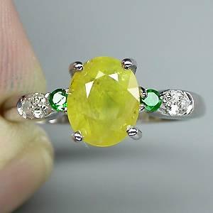 Anel de Prata 925 com Safira Amarela Esmeraldas e 06 Diamante Naturais
