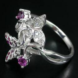 Anel de Prata 925 com Rubis Rodolitas 10 Diamantes Naturais Lapidação Brilhante