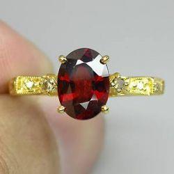 Anel de Ouro 14 k Plated Prata 925 com Rara Granada Spessartita e 10 Diamantes