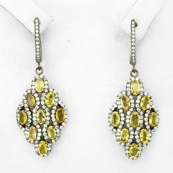 Brincos de Prata 925 com Safiras Amarelas