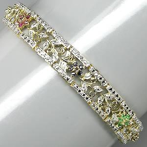 Bracelete de Ouro Amarelo e Branco 14k (Prata 925) com Esmeraldas, Rubis e Safiras Naturais