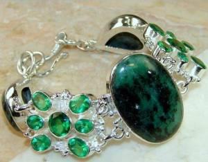 Bracelete de Prata 925 com Zoizites e Quartzos Cromo Naturais