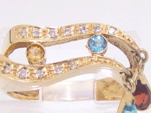 Anel Berloque De Ouro 18k com Diamantes VVS1, Granada, Topázio e Citrino naturais