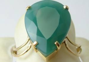 Anel de Ouro Sólido 18k Com Esmeralda Gota Verde