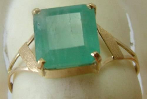 Anel de Ouro Sólido 18k Com Esmeralda Colombiana Verde