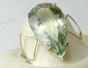 Anel de Ouro Sólido 18k Com Prasiolita Verde Gota