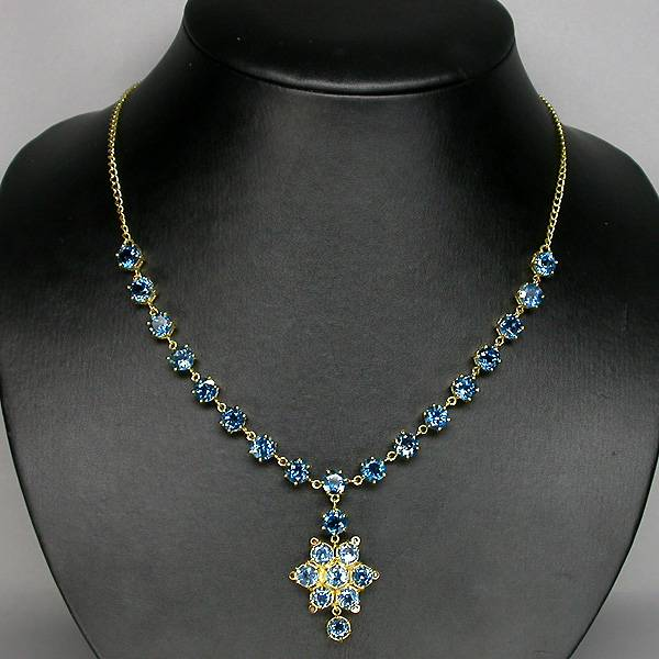 colar de ouro 14k plated prata 925 com topazios london blue e 06 diamantes