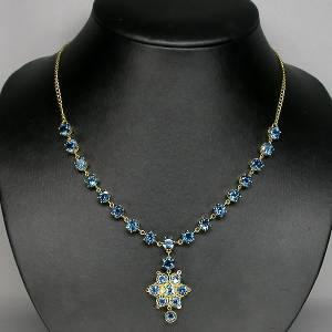 colar de ouro 14k plated prata 925 com topazios london blue e 06 diamantes