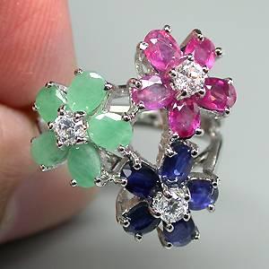 Anel Floral de Prata 925 com Esmeralda, Rubi e Safira Naturais e Zircônias Cúbicas Lapidação Diamante