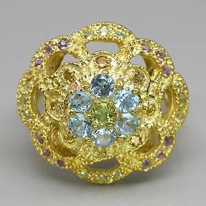 Anel de Ouro Amarelo 14 k Plated (Prata 925) com Multigemas Naturais Lapidação Diamante