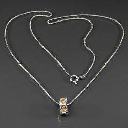Cordão de Prata 925 com Pedras de Citrino Extra