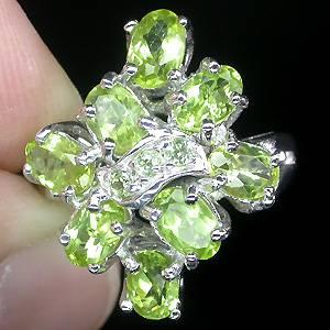 anel de prata 925 com peridotos naturais acessorio de moda feminina
