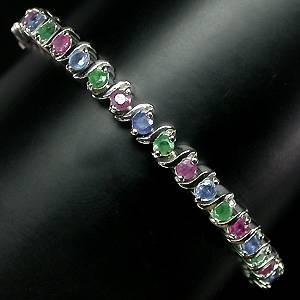 Pulseira de Prata 925 com Esmeraldas Rubis e Safiras Naturais