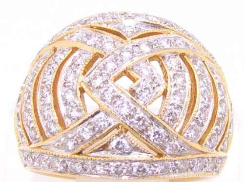 Anel Pavê de Diamantes Ouro 18k