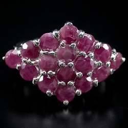 Anel de Prata 925 com Rubis Lapidação Diamante