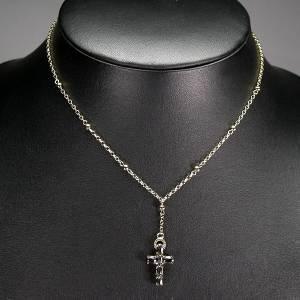 Colar de Ouro 14k Plated (Prata 925) com Crucifixo Cravejado de Safiras Naturais