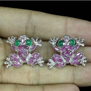 brincos de prata 925 com rubis e aventurines naturais em formato de sapinhos