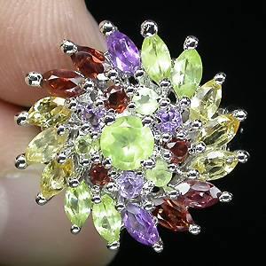Anel Floral de Prata 925 com Multigemas Coloridas Naturais