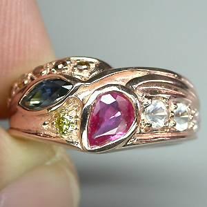 Anel de Ouro Rose 14k Plated (Prata 925) com Multigemas e 06 Diamantes Naturais
