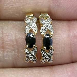 Brincos de Ouro  14 k Plated (Prata 925) com Safiras Black e 02 Diamantes Naturais