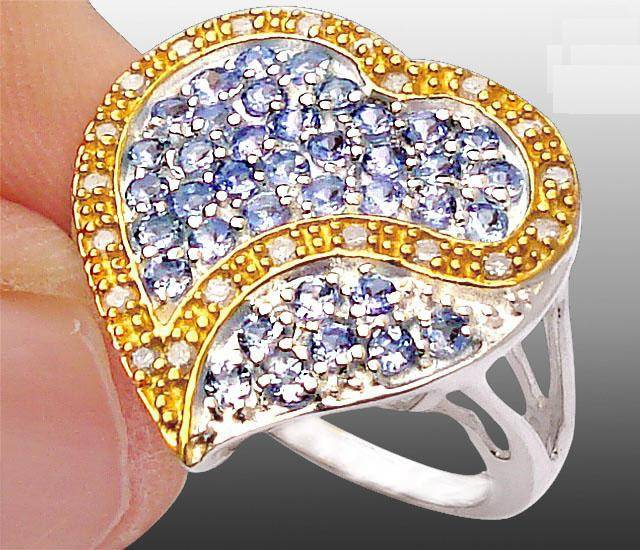 Anel de Prata 925 com Tanzanitas Top e 21 Diamantes Naturais