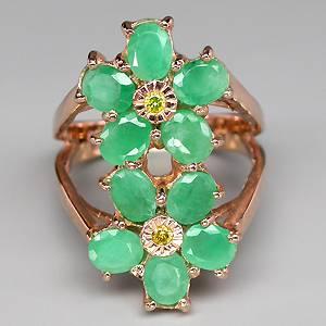 anel de ouro 14k plated prata 925 com esmeraldas e 02 diiamantes naturais