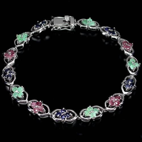 pulseira de prata 925 com esmeraldas rubis e safira naturais lindo acessorio feminino
