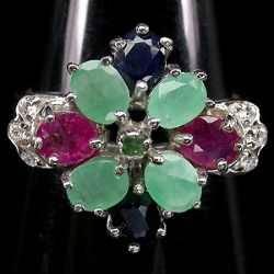 Anel de Prata 925 com Rubis Esmeraldas e Safiras