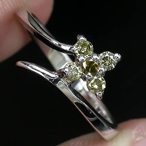 Anel Floral de Ouro Branco 14k Plated 05 Diamantes Naturais 0,22 cts