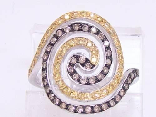 Anel De Ouro Branco 18k com 80 Diamantes