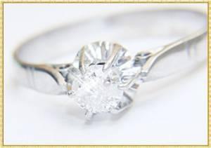 Anel Solitario com Diamante 20 pontos Ouro 18k 750 Branco