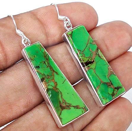Brincos de Prata 925 com Turquesa Cooper Verde Natural