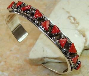 Bracelete de Prata 925 com Corais Vermelhos Naturais