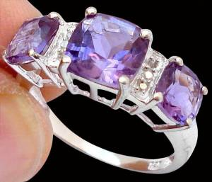 Anel de Prata 925 com Ametistas Top e 0,8 Cts de Diamantes Naturais
