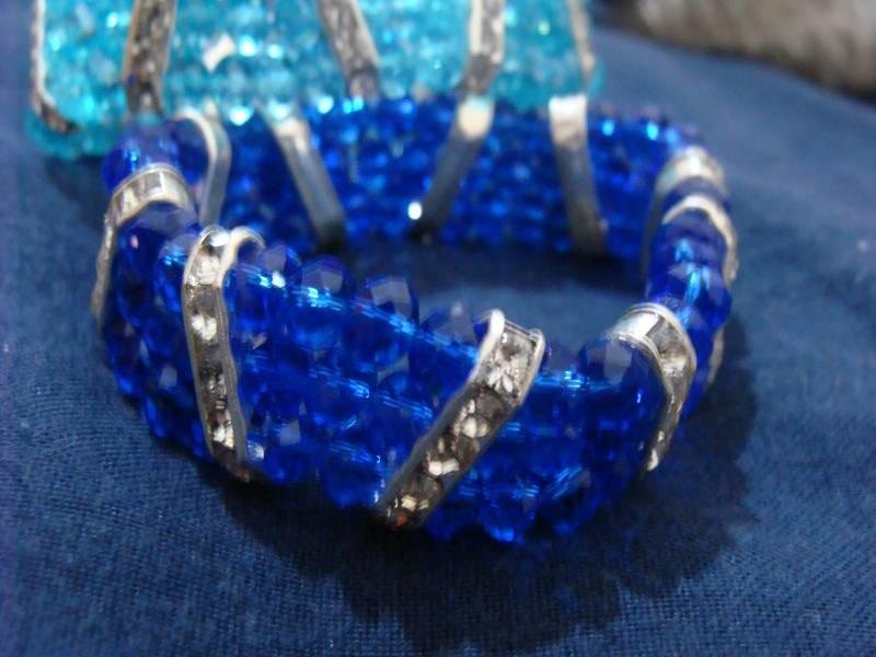 Pulseira de Cristais Swarovski Azul Royal com detalhes em Prata 925