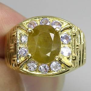 Anel de Ouro Amarelo 14 k Plated (Prata 925) com Safira Amarela e Tanzanitas Naturais