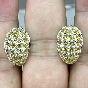 Brincos de Ouro Branco 14 k Plated (Prata 925) com Citrinos Naturais