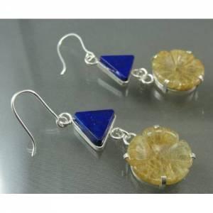 Brincos de Prata 950 com Lápis Lazuli e Flor de Quartzo Rutilado