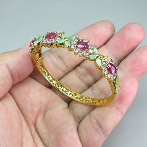 Bracelete de Ouro Amarelo 14 k (Prata 925) com Multigemas Naturais