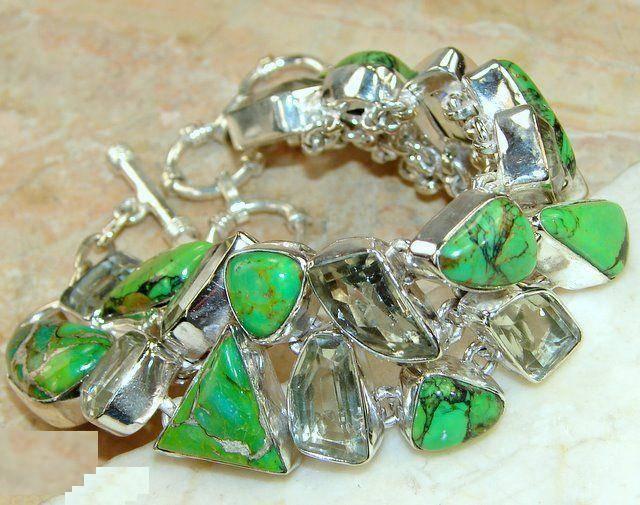 Bracelete de Prata 925 com Turquesas e Ametistas Verdes Naturais