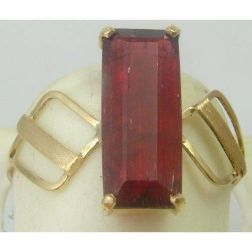 anel de ouro 18k com turmalina rosa natural retangular