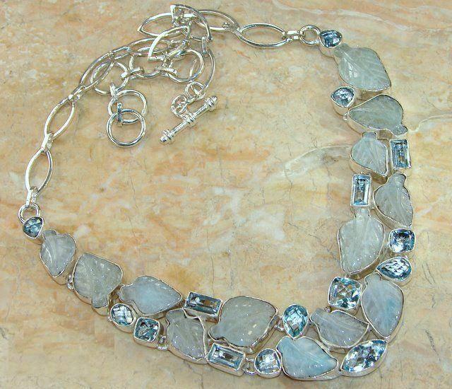 Gargantilha de Prata 925 com Água-Marinha e Topázios Sky Blue Naturais