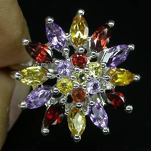 Anel Floral de Prata 925 com Granadas, Citrinos e Ametistas Naturais