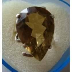 Anel de Prata 925 com Quartzo Greengold Vvs