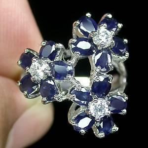 Anel Floral de Prata 925 com Safiras Top Naturais e Zircônias Cúbicas Lapidação Diamante